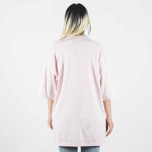 Undercover Oversized Pale Pink T-shirt With Rose Print And Blades