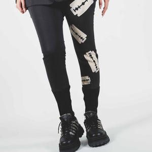 Undercover Black Ribbed Panel Knife Print Pants