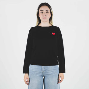 CDG PLAY Red Heart Knit Sweater Black