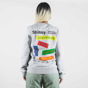 Stussy City Banners Crew Gray