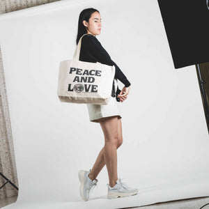 Stussy Peace And Love Canvas Tote Bag Natural