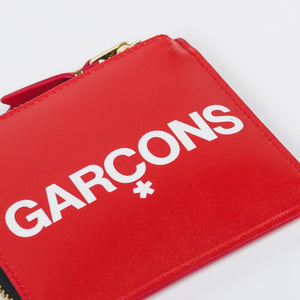 CDG Huge Logo Red Zip Card Holder