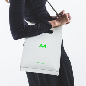 A4 LEATHER WHITE X NEON GREEN PRINT