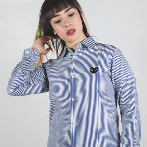 CDG PLAY Black Heart Striped Blue Long Sleeve Shirt