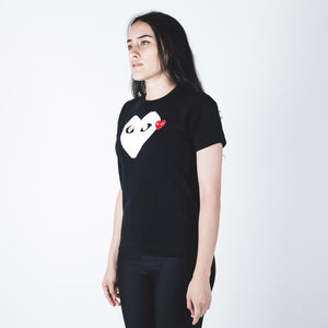 CDG PLAY White Heart T-shirt Black