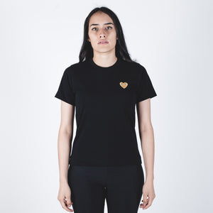CDG PLAY Gold Heart Black T-shirt