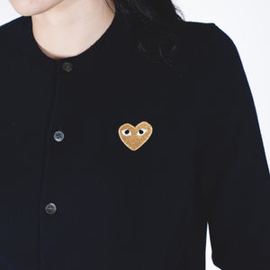 CDG PLAY Gold Heart Knit Cardigan Navy