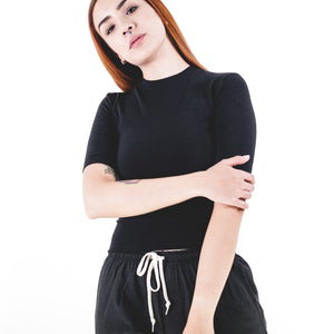 Stretch Sueded Cotton Mockneck Black