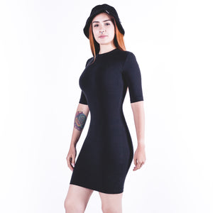 Stretch Sueded Cotton Mockneck Dress Black