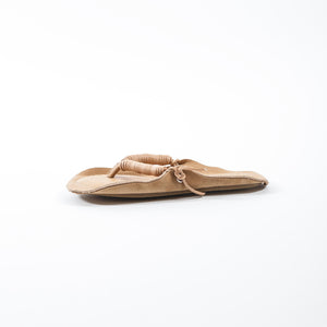 Leather Flip-flop Sandals Camel Brown