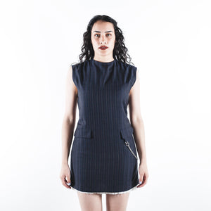 Sleeveless Striped Dress Dark Navy