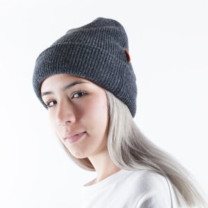 Ribbed Wool Beanie Dark Grey