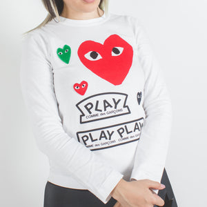 CDG PLAY Red and Green Heart White Logo Long Sleeve T-shirt