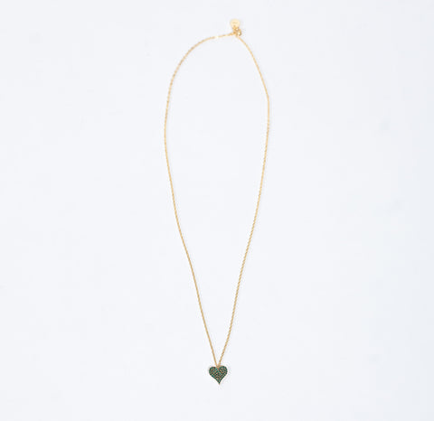 Undercover Green Necklace With Heart Charm