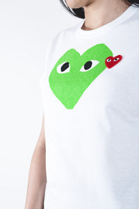 CDG PLAY Green Heart T-shirt White
