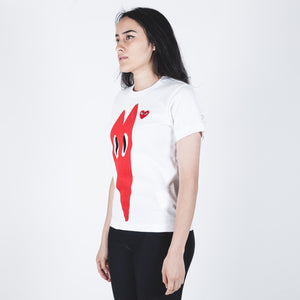 CDG PLAY Red Heart White T-shirt