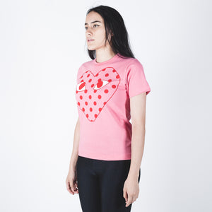 CDG PLAY Red Heart Pink T-shirt