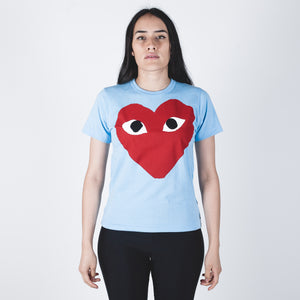 CDG PLAY Red Heart Blue T-shirt