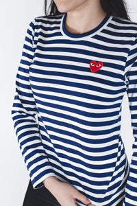CDG PLAY Red Heart Navy Stripe T-shirt