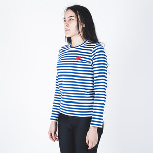 CDG PLAY Red Heart Blue Stripe T-shirt