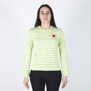CDG PLAY Red Heart Green Stripe T-shirt