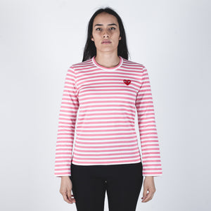 CDG PLAY Red Heart Pink Stripe T-shirt