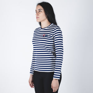 CDG PLAY Blue-Red Heart Navy Stripe T-shirt