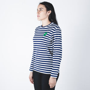 CDG PLAY Green Heart Navy Stripe T-shirt