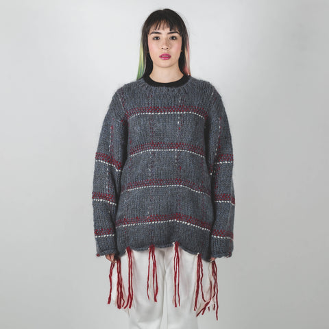 Undercover Blue-Grey Tassel-hem Plaid Sweater