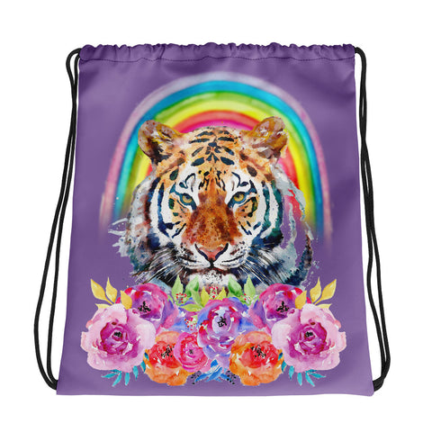 Rainbow Tiger Drawstring Bag