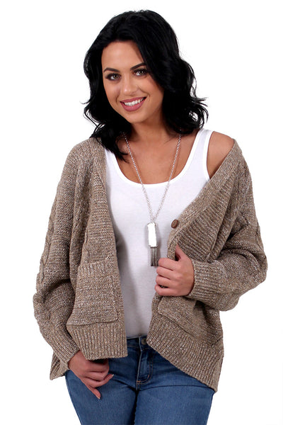 ca6651d996 Warmth Embrace Taupe Cardigan