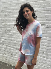 FEELING GROOVY TIE DYE SET IN BLUE/PINK
