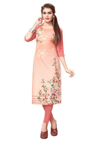 Printed Straight Cut Crepe Kurti