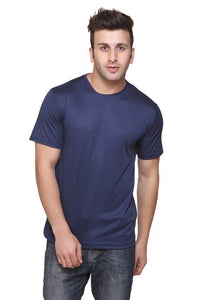 Men Navy Blue Polyester Blend Half Sleeves Round Neck Tees