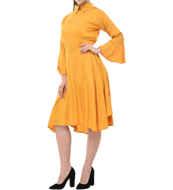 Yellow Cotton Solid Fit & Flare Dress