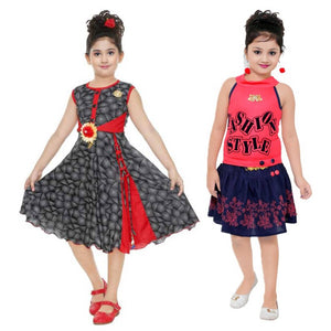 Girls Midi/Knee Length Party Dress cotton (combo pack of 2)
