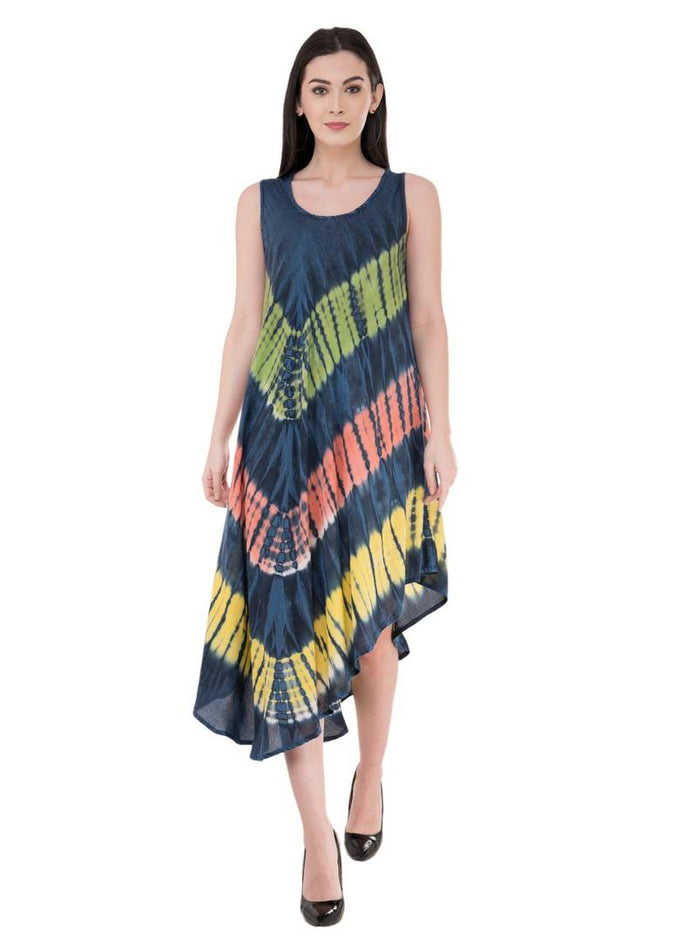 Women's Rayon Multicoloured Knee Length Dress