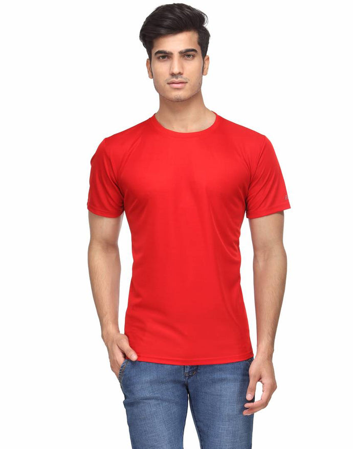 Men's Red Solid Polyester Round Neck T-Shirt
