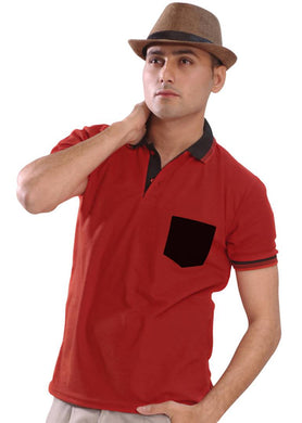 Red Solid Polyester Polo T-Shirts