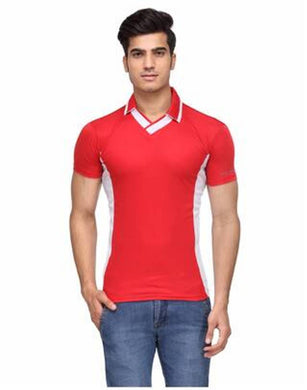 Men's Red White V-Neck Sports T-shirt