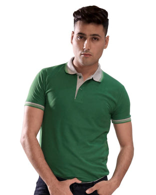 Green Cotton Blend Polos T-Shirt for Men's