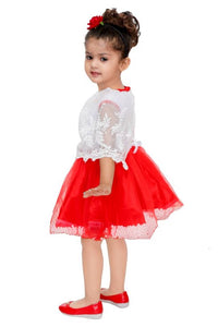 Mojua Girls Midi/Knee Length Party Dress  (Red, Cap Sleeve)