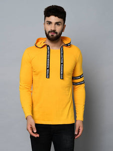 Men's Yellow Cotton Self Pattern Hooded Tees