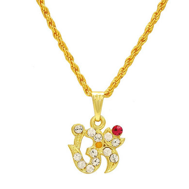 Gold plated White and Red American Diamond AD studded OM chain necklace jewellery for Men