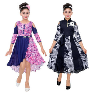 Girls Midi/Knee Length Party Dress (Pack Of 2)