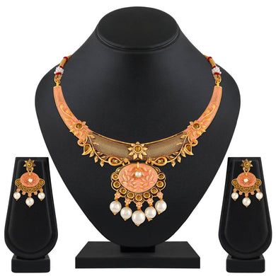 Gold Plated Traditional Ethnic Choker Necklace Set For Women