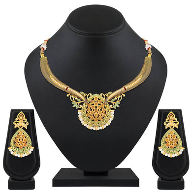 Gold Plated Traditional Ethnic Choker Kundan Necklace Set For Women