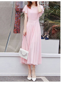 Pink Flutter Sleeve Long A-Line Maxi Dress