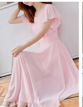 Load image into Gallery viewer, Pink Flutter Sleeve Long A-Line Maxi Dress