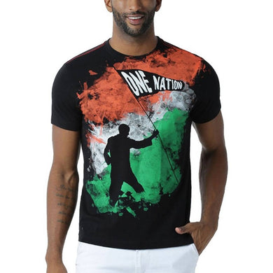 Men's Black Cotton Blend Indian Flag T-Shirt